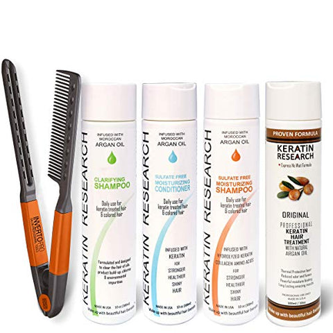Complex Brazilian Keratin Blowout Hair Treatment 4 Bottles 300ml Value Kit Includes Sulfate Free and Easy Comb Queratina Keratina Brasilera Tratamiento