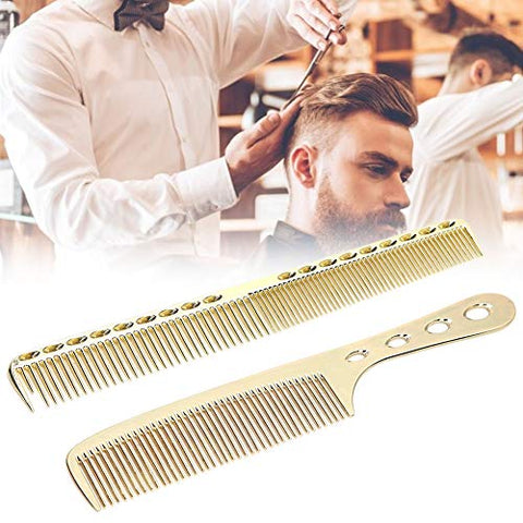 Professional Styling Comb Set Stainless Steel Hair Combs Salon Anti-Static Styling Comb Hairdressing Tool for Women and Men(gold)