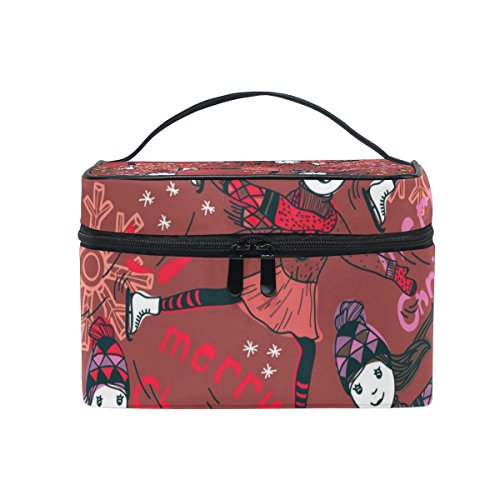 Cooper girl Merry Christmas Skating Girl Cosmetic Bag Travel Makeup Train Cases Storage Organizer