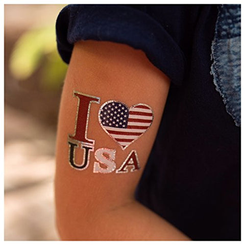 24 Patriotic Temporary Tattoos | 4th of July Party Supplies | USA Party Favors and Fourth of July Party Decorations | Metallic American Flag Red White and Blue Fake Tattoos | By John & Judy
