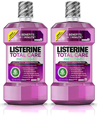 Listerine Total Care Anticavity Mouthwash, 6 Benefit Fluoride Mouthwash for Bad Breath and Enamel Strength, Fresh Mint Flavor, 2 Pack Each 1 L