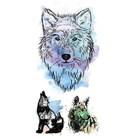 Supperb Mix Wolf Temporary Tattoos Watercolor Wolf Wolves Tattoo (Set of 2)