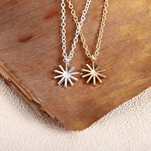 Jovono Sun Pendant Necklaces Dainty Necklace Fashion Chain Jewelry for Women and Girls (Silver)
