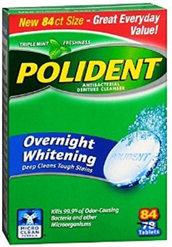 Polident Overnight Whitening, Antibacterial Denture Cleanser, Triple Mint Freshness 84 ea (Pack of 7)