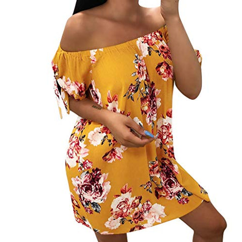 Henwerd Fashion Women Off Shoulder Summer Loose Dress Casual Lady Bohemia Floral Printed Dress (Yellow,S)