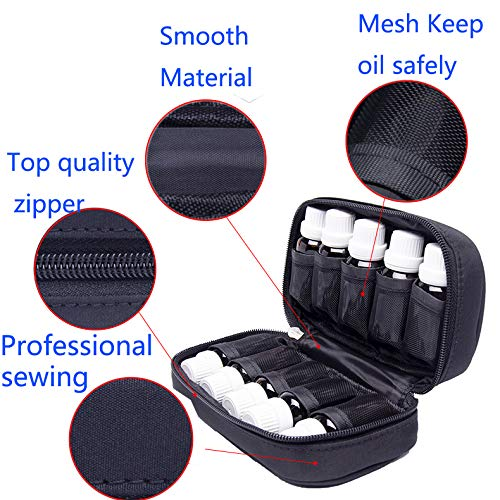 Essential Oil Carrying Case Holds 10 Bottles For Travel Home Stock Office Girls Perfects For Makeup Bags Beauty Bags With Mesh Pockt Protect - Size 5ML, 10ML, 15ML Multiple Colors 2-inch high (Black)