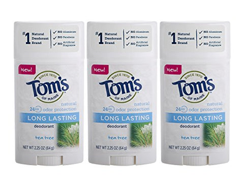 Tom's of Maine Natural Long Lasting Deodorant Multi Pack, Aluminum Free Deodorant, Natural Deodorant, Tea Tree, 2.25 Ounce, 3-Pack