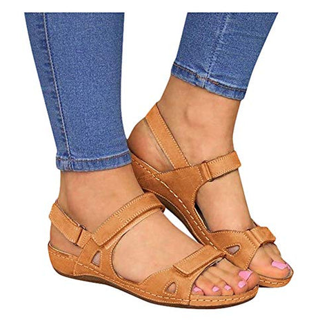 Sandals for Women Platform,Premium Orthopedic Open Toe Sandals for Women Comfy Sandals Casual Summer Hook and Loop Sandals Brown
