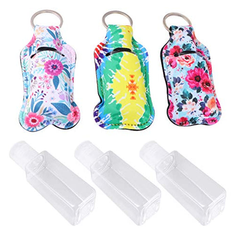 Beaupretty Travel Size Bottle and Keychain Holder, Portable Travel Bottle, Refillable Bottles for Shampoo, Lotion, and Liquids (Assorted Color Bottle Covers)