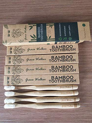 100% Biodegradable, Bamboo Toothbrush, 4 Pack, Grace Walker