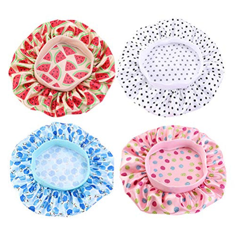 Beaupretty 4pcs Kids Satin Sleep Caps Soft Sleeping Caps Night Hat Head Cover for Natural Hair, Curly Hair (Pink, White, Beige, Blue)