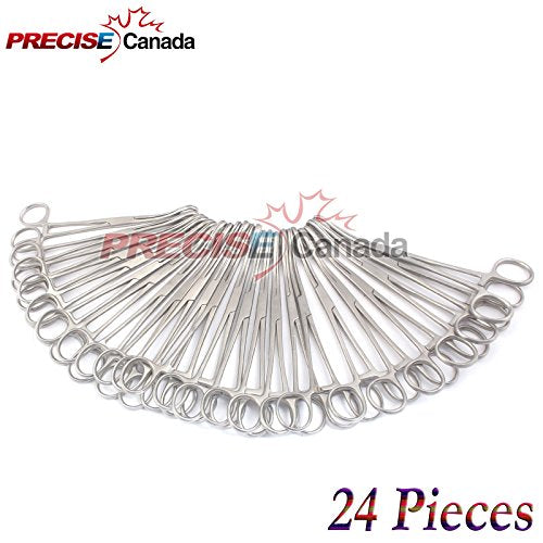 "PRECISE CANADA: SET OF 24 SELF-LOCKING SPONGE FORCEPS CURVED 6"" BODY PIERCING STAINLESS STEEL"
