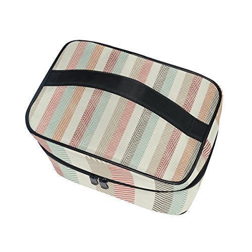 Cosmetic Bag Vintage Colorful Stripes Women Makeup Case Travel Storage Organizer