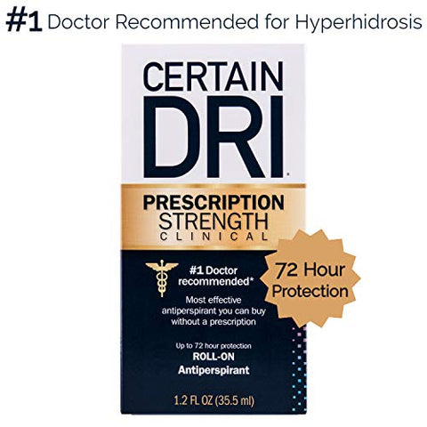 Certain Dri Prescription Strength Clinical Antiperspirant | Doctor Recommended Hyperhidrosis Treatment | 72 Hour Protection from Excessive Sweating | Roll-On | 1.2 Fl Oz (Pack of 1)