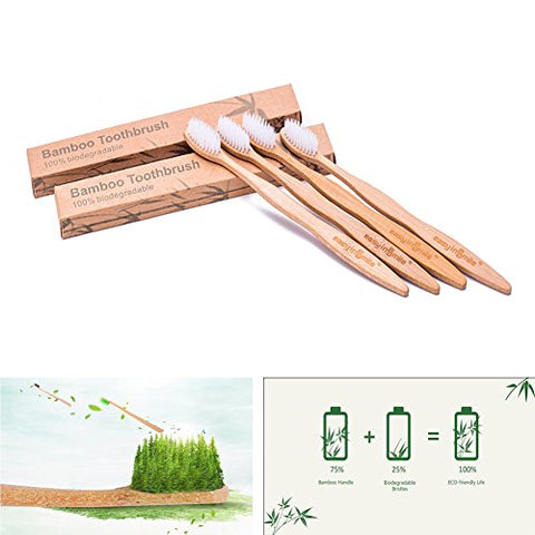 Easyinsmile 4pcs Biodegradable Eco-Friendly Bamboo Toothburshes 100% Plant-Based BPA-Free Soft Bristles Available in Size for Adults and Kids (Adults)