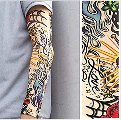 Tattoo Sleeve Flower Arm Tattoo Sleeve Men and Women Riding Armband Driving Ice Silk Ice Hand Sleeve Seamless Sunscreen Sleeve(6pcs)
