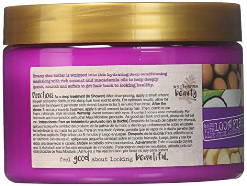 Maui Moisture Shea Butter Hair Mask 12 Ounce Jar (Heal/Hydrate) (354ml) (2 Pack)