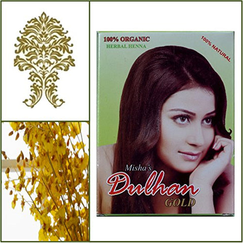 100% Natural Dulhan Henna Hair Dye Powder. 100g box. Golden Color.