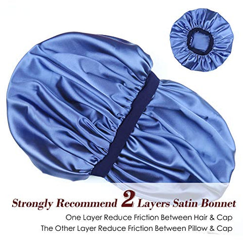 Slouchy Cap,Thick Hair Extra Large Black Women Curly Sleeping Satin Lined Sky