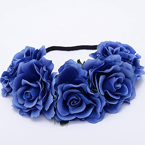 HOMEYU Rose Flower Floral Crown Headband Hair Garland Wedding Festival Wedding Headpiece