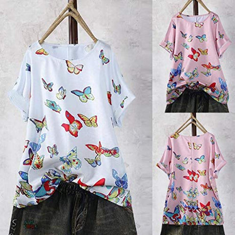 terbklf Cotton Linen Tops for Women Ladies Casual Plus Size T Shirt Butterfly Printed Loose Button Tunic Shirts Blouse White