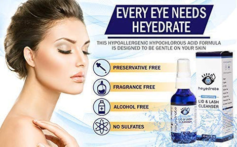 Heyedrate Lid and Lash Cleanser for Eye Irritation and Eyelid Relief, Gentle Hypochlorous Acid Eyelid Cleansing Spray (1 Ounce + 2 Ounce Bundle)