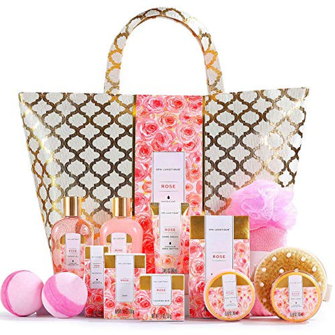 Spa Luxetique Spa Gift Baskets, Bath and Body Spa Gift Set for Women, Luxury Rose Bath Sets, 15 Pcs Home Spa Kit Includes Massage Oil, Bath Salt, Bubble Bath, Best Gift Sets for Women or Her.