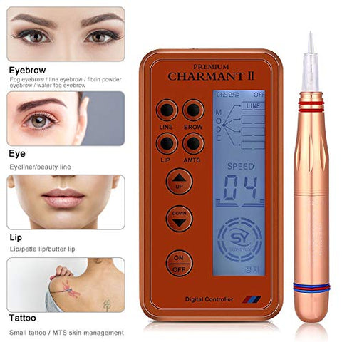 Electric Digital Permanent Eyebrow Lip Eyeliner Tattoo Pen Makeup Tattoo Machine with 6 Types Needle and LCD Display, Teaching CD(Orange)