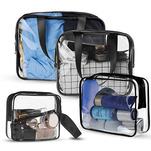 Sariok 4 in 1 Clear Toiletry Bag Set TSA Approved Portable Carry on Travel Cosmetic Makeup Bag with Zipper Pouch Handle Straps for Women Men Kids,Waterproof Packing Organizer Storage4 sizes (Bla