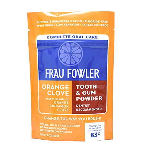 Frau Fowler ORANGE CLOVE Tooth Powder- Botanically Clean, Teeth-Whitening, Remineralizing/Great For Sensitive Teeth, PACKET 2 oz