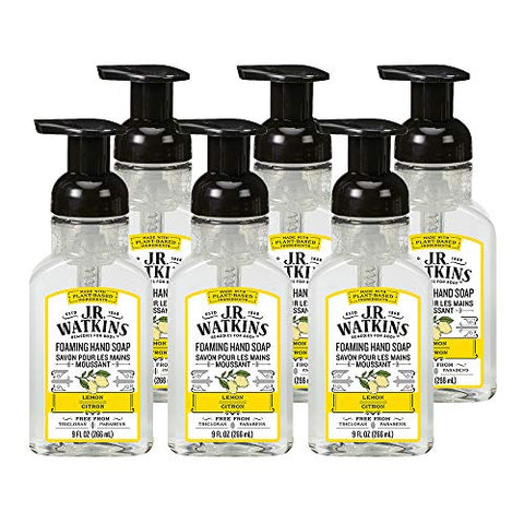 J.R. Watkins Foaming Hand Soap, Lemon, 6 Pack, Scented Foam Handsoap For Bathroom Orã'â  Kitchen, Us