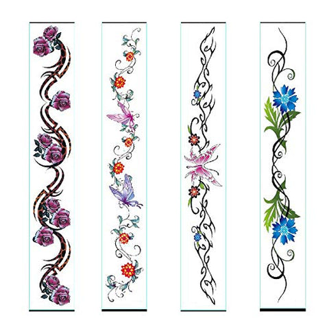 New Belt Belly Button Tattoo Stickers, 4Pcs Temporary Tattoos, Waterproof Tattoo Stickers for Women Girls~ Butterfly Flower Design
