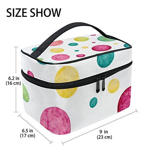 Cosmetic Bag Funny Watercolor Colorful Dots Women Makeup Case Travel Storage Organizer