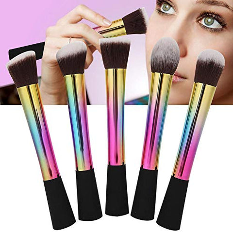 5pcs Portable Makeup Brush Set, Professional Artificial Fiber Cosmetic Brush, Face Blush Powder Makeup Brush, Women Beauty Tools