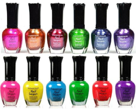 12 KLEANCOLOR NAIL POLISH, 6 METALLIC + 6 NEON BEST SELLER COLLECTION