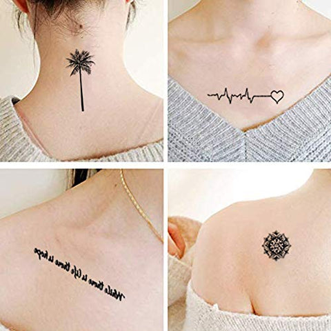 Small Tattoos Black Realistic Temporary Tattoos for Women Men Adults Waterproof Tiny Fake Tattoos Body Stickers Word Cross Anchor Flower Temp Tattoo Paper Finger Neck Wrist Ankle Tattoo (40 Sheets)