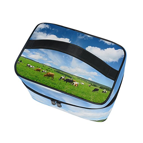 Cooper girl Herd Of Cows Cosmetic Bag Travel Makeup Train Cases Storage Organizer