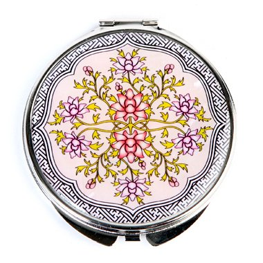 Mother of Pearl Flower Design Compact Cosmetic Pocket Purse Makeup Mirror