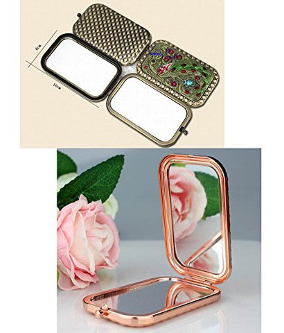Vintage Compact Mirrors Travel Makeup Mirror Handbag Mirror, Flower Butterfly