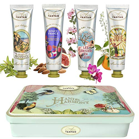 Beauty Gifts For Women: 4 Hand Cream Set/Shea Butter, Aloe Vera/Tin Gift Box/Un Air d'Antan/4 Perfumes: Verbena, Cherry Blossom, Rose, Almond/Gift For Her/Mum Gifts/Skincare Gift Set/Hand Set