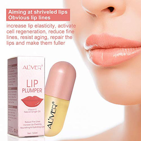 Lip Plumper 2 Pack, Natural Lip Enhancer, Lip Maximizer Lip Gloss, Lips Moisturizing Clear Lip Gloss for Fuller Lips, Reduce Fine Lines, Beautiful Fuller & Hydrated, Instantly Sexy 5.5ML