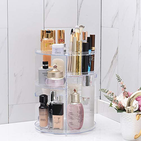LALAWO Perfect Space Management Equipment Cosmetic Space Management Equipment Rotating Shelf Desktop Skin Care Dressing Table Storage Lipstick Finishing Box Item Container