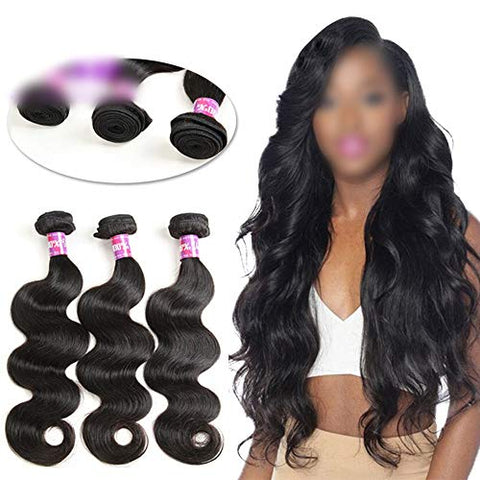 Hairpieces Fashain Body Wave Virgin Hair Bundles 100% Unprocessed Remy Human Hair Extensions Hair Weave 12 Inch-26 Inch Natural Color for Daily Use and Party (Color : Black, Size : 16 inch)