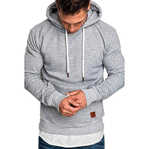 jin?Co Mens Casual Hooded Sweatshirts Solid Color Drawstring Autumn Winter Active Sport Pullover with Front Pockets Gray