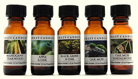 Crazy Candles 5 Bottles Set, 1 Mahogany Teakwood 1 Apple & Oak, 1 Black Amber & Oak, 1 Oakmoss (Very Mild Scent), 1 Oakmoss Sandalwood 1/2 Fl Oz Each (15ml) Premium Grade Scented Fragrance Oils