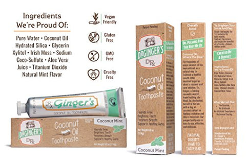 Dr. Ginger's Coconut Oil Toothpaste, 1.25 oz, 3 Count (Travel Size) - Coconut Mint Flavor