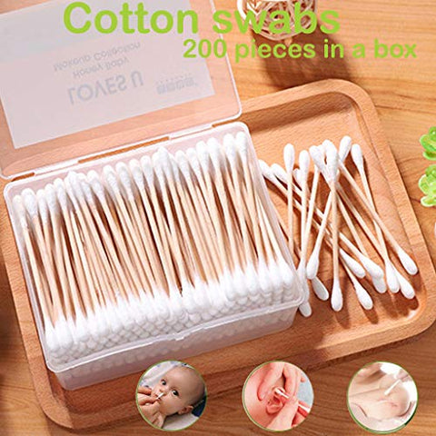fine_fine Hygienic Makeup Cotton Swab, Natural Bamboo Wood Cotton Swab Clean Disposable Cotton Swab, for Nose Ear Makeup Cleaning Cotton Buds