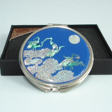Mother of Pearl Crane and Pine Tree Design Blue Double Compact Magnifying Purse Mirror