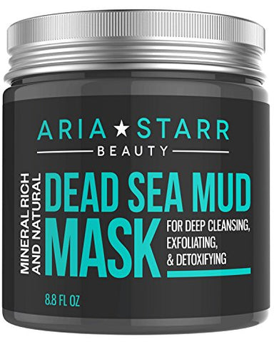 Aria Starr Dead Sea Mud Mask For Face, Acne, Oily Skin & Blackheads   Facial Pore Minimizer, Reducer