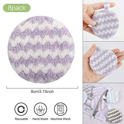 VIVOTE Makeup Remover Pads Reusable, Microfiber Makeup Removal Rounds Puff, Washable, Eco-friendly, Soft, Facial Eye Skin Wash Puffs, Laundry Bag, 3.15 Inch, 8 Pack (Gray + Purple + Blue)